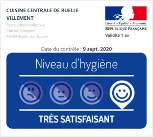 """La Cuisine centrale Villement a obtenu la mention """"Très satisfaisant"""""""